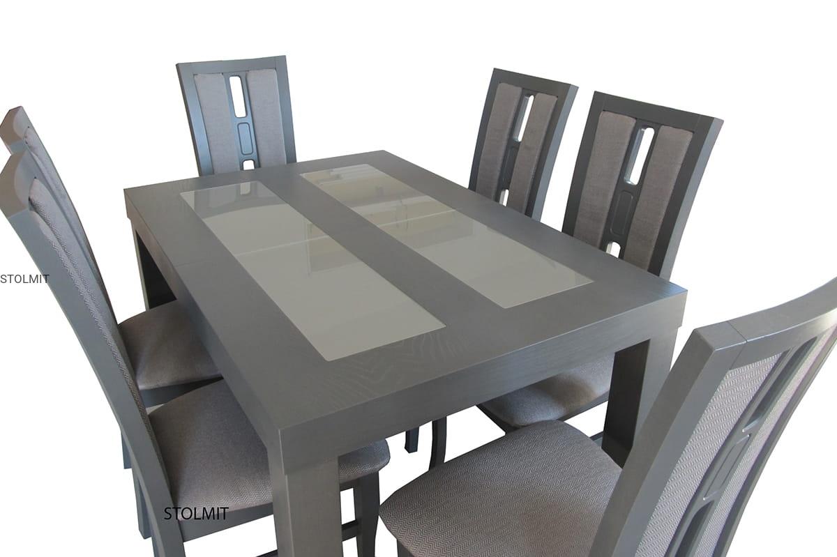 Modne ubrania Stół ze szkłem i 6 krzesłami - bejca lub na zamówienie grafit IY54