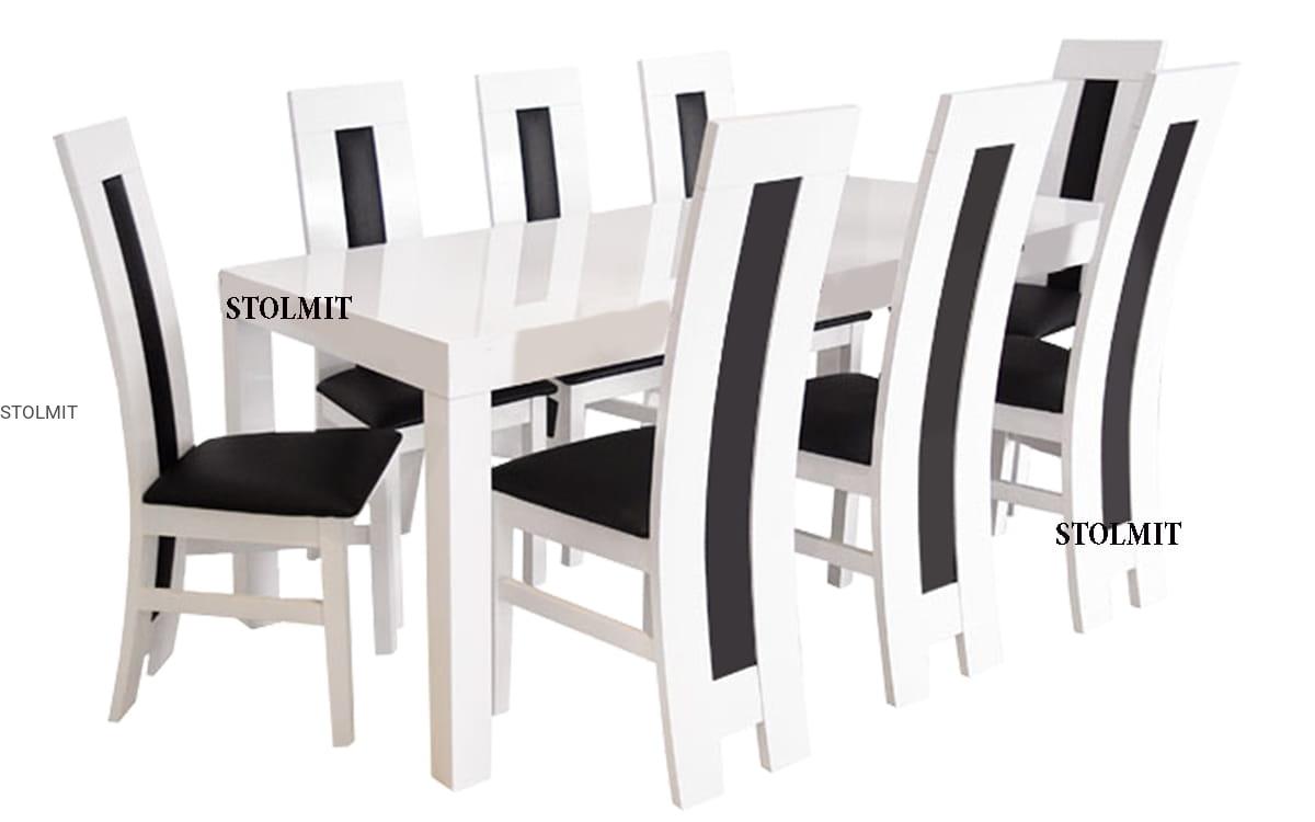 Stół Biały Połysk Duże Wymiary Oraz 8 Krzeseł Stolmitmeble