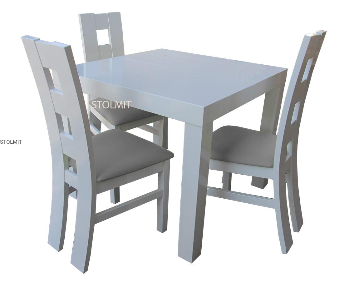 Kwadratowy Stół Biały Połysk Z 3 Krzesłami Na Wymiar Rozkładanie