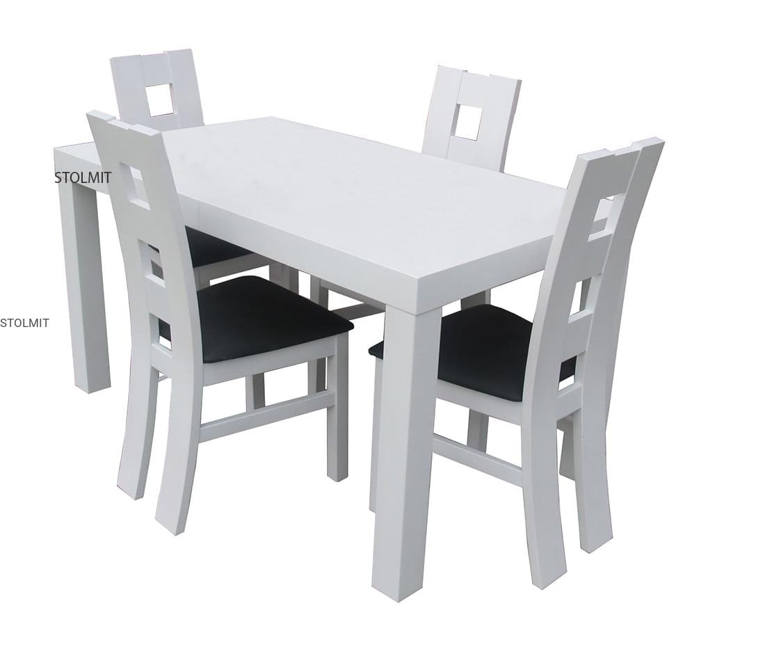 Matowy Biały Stół Rozkładany Na Wzmiar Z Czterema Krzesłami Hit