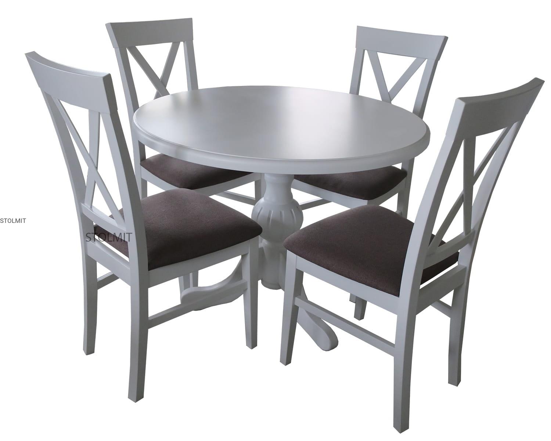 Bardzo dobra Okrągły stół biały matowy z 4 krzesłami provance stolmit.meble CC41