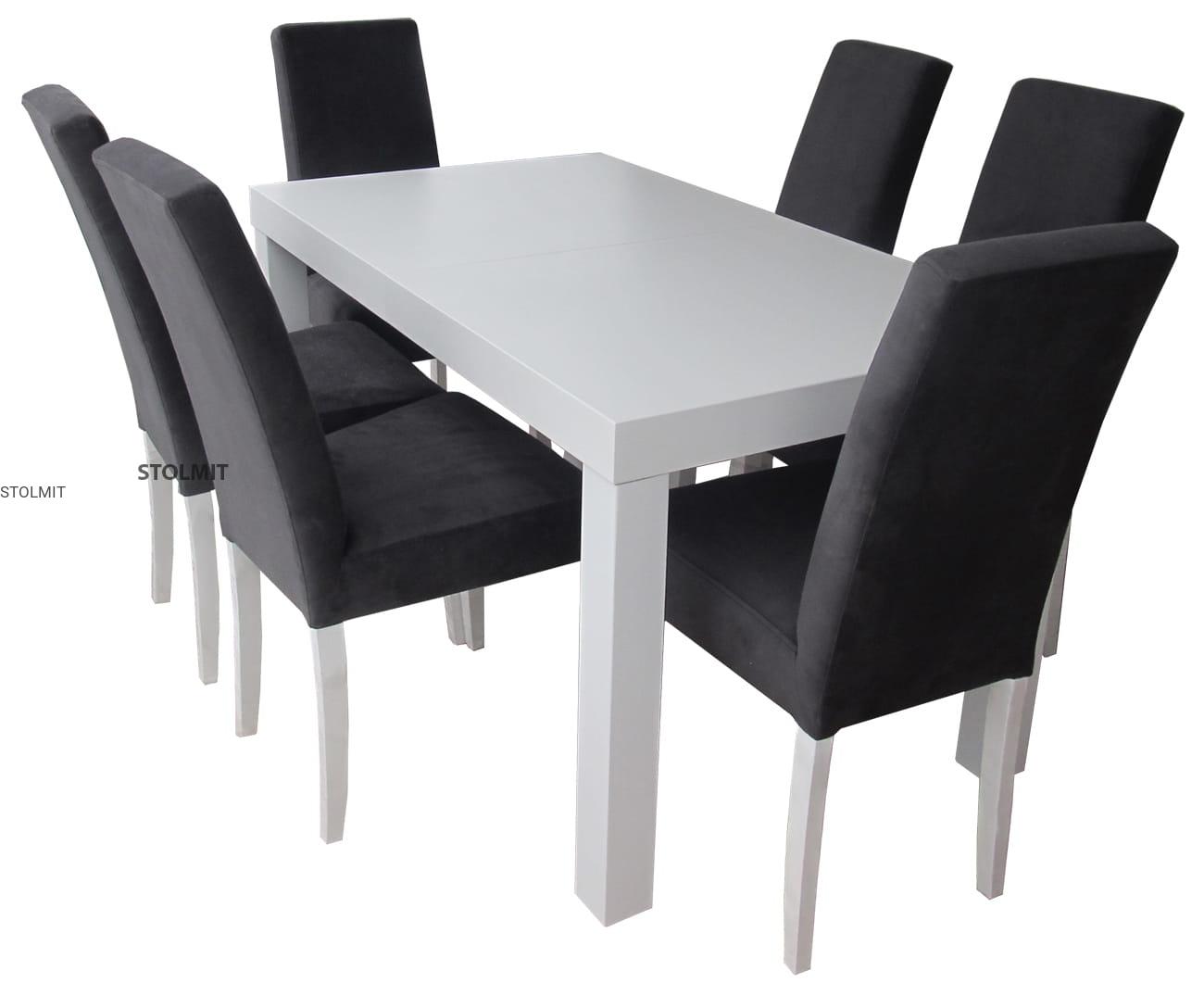 Rozkładany Stół Biały 6 Krzeseł Komin Popularny Zestaw Stolmitmeble