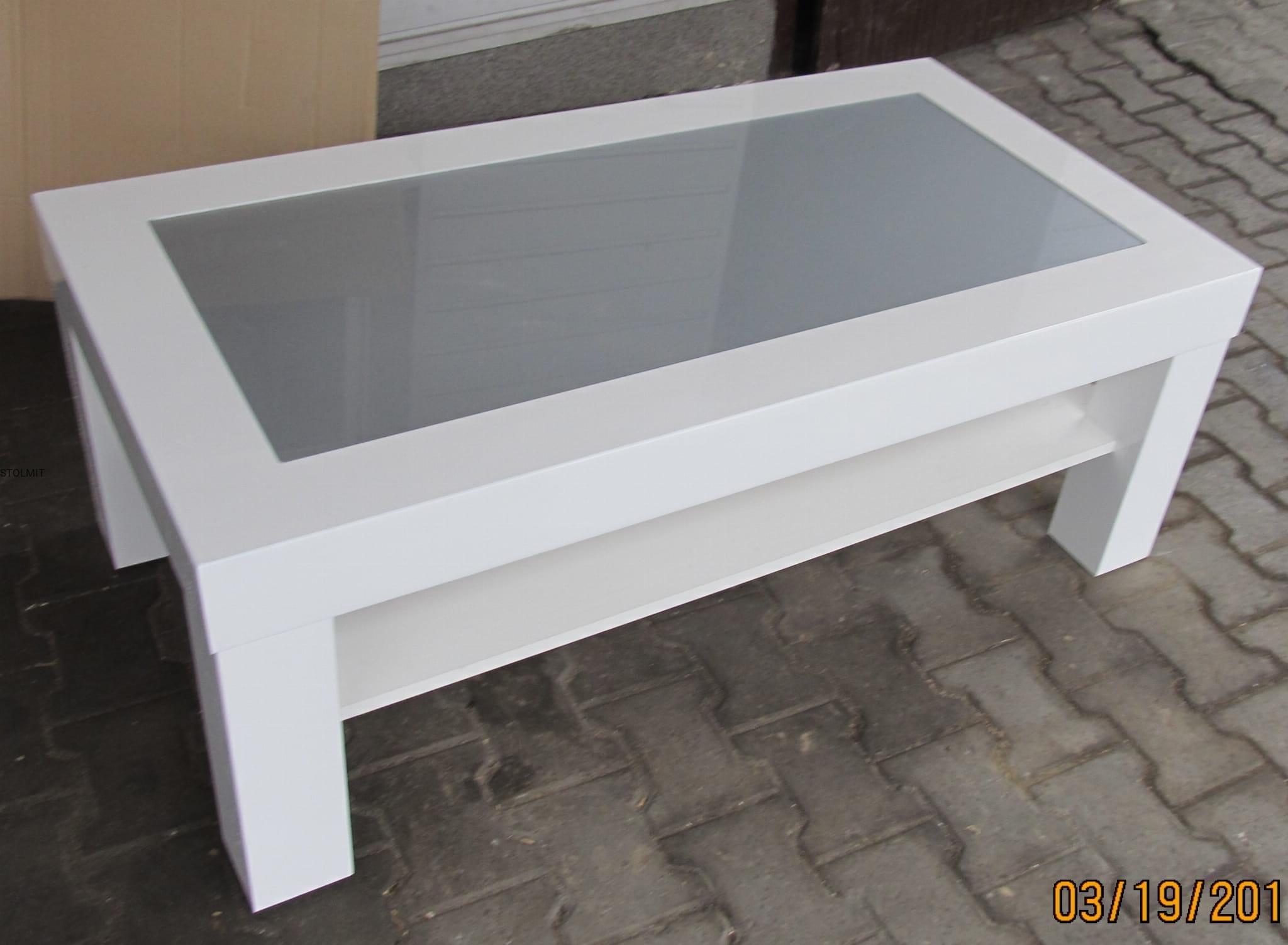 Inteligentny Ława stolik biały połysk z półką i szkłem - wymiary stolmit.meble EZ88