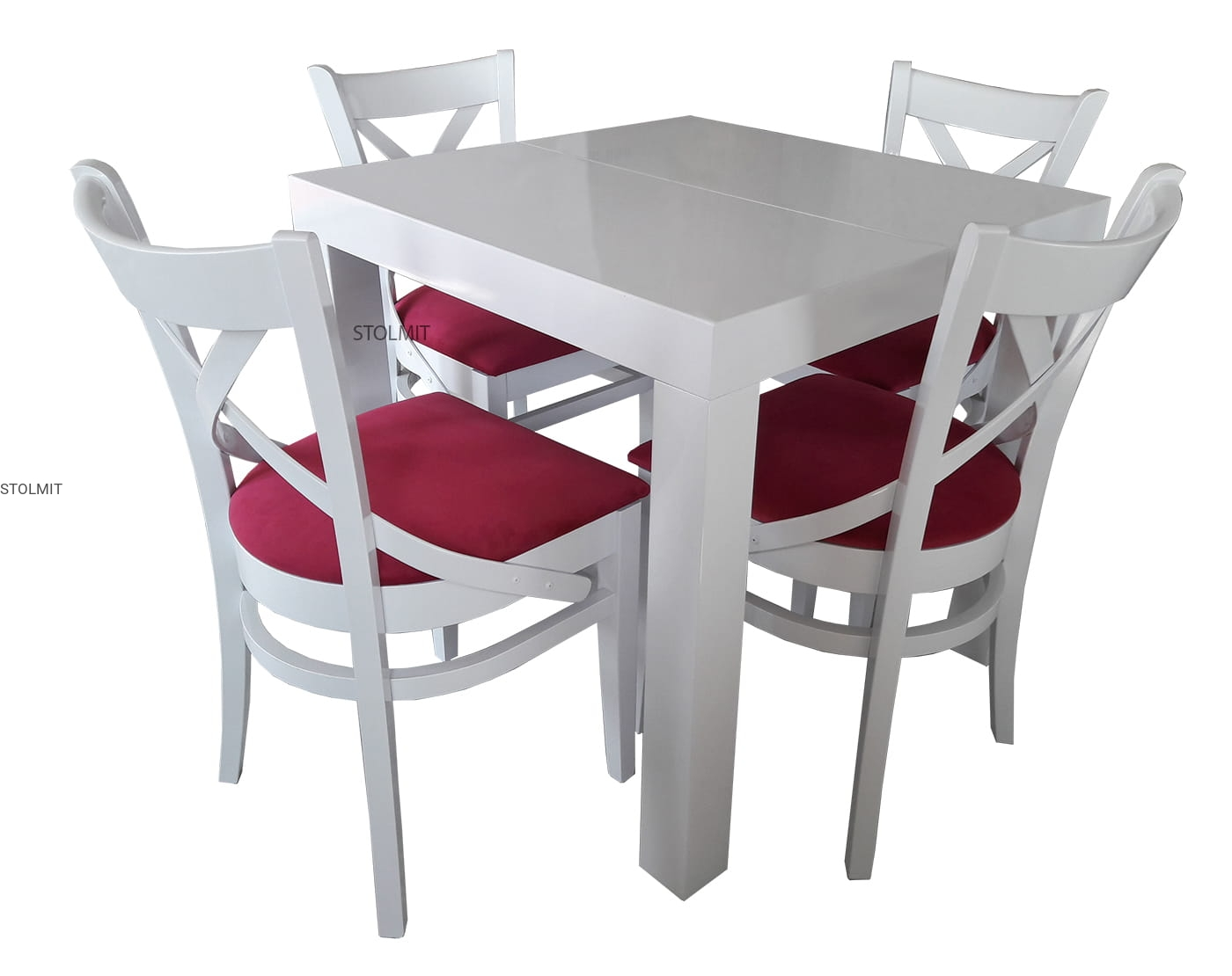 Rozkładany Kwadratowy Stół Matowy Biały 4 Wygodne Krzesła Stolmit
