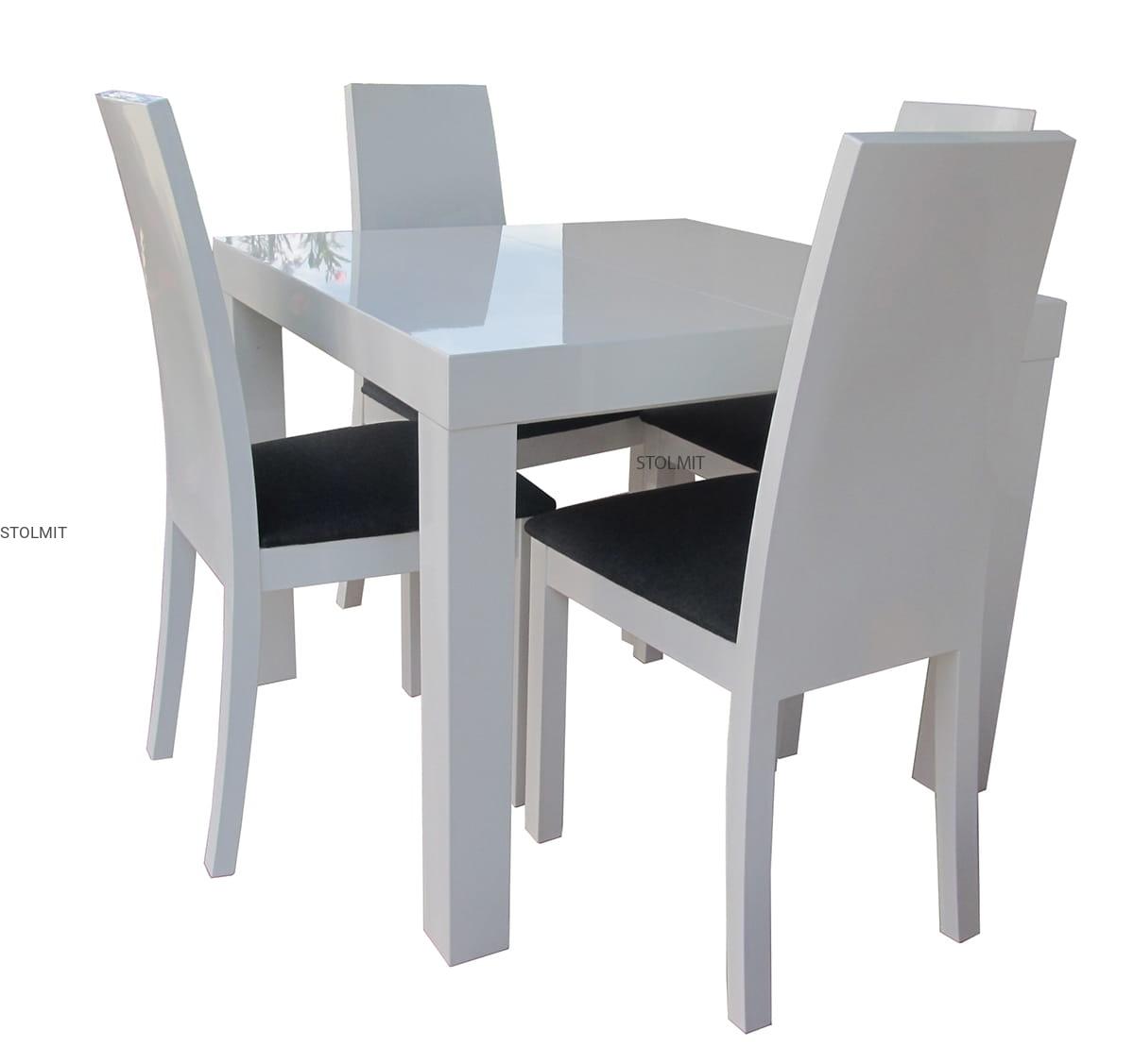Kwadratowy Rozkładany Stół Biały Połysk 4 Nowoczesne Krzesła