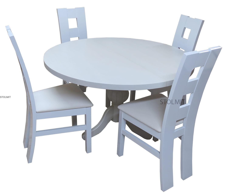 Biały Matowy Stół Okrągły 4 Krzesła Kostka