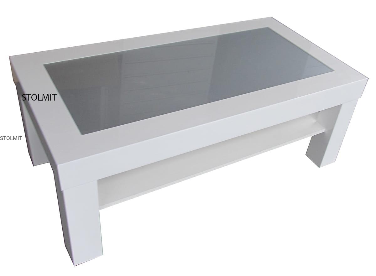 Nowoczesna architektura Ława stolik biały połysk z półką i szkłem - wymiary stolmit.meble KD81