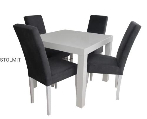 Matowy Kwadratowy Biały Stół 4 Krzesła Komin Wymiary