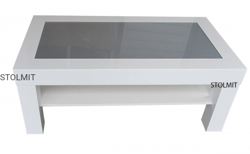 Tylko na zewnątrz Ława stolik biały połysk z półką i szkłem - wymiary stolmit.meble NT29