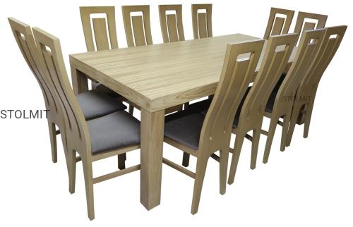 Dębowy Stół 8 Nóg Z 12 Krzesłami Duże Wymiary Stolmitmeble
