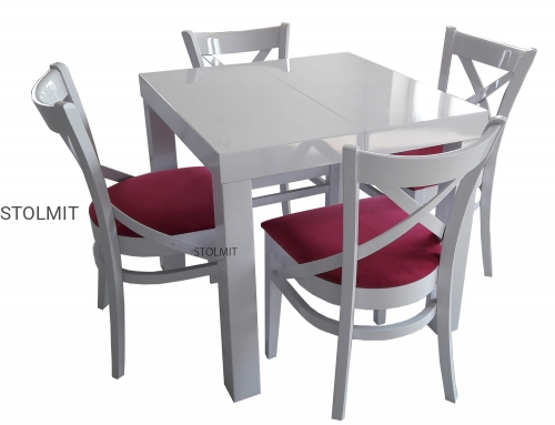 Rozkładany Kwadratowy Stół Biały Połysk 4 Krzesła X Stolmitmeble