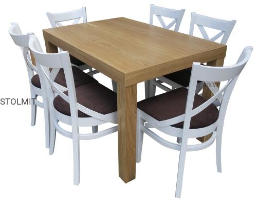 Stół Dębowy Z 6 Białymi Wygodnymi Krzesłami Stolmitmeble