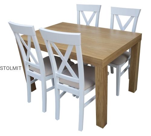 Stół Dębowy Z 4 Białymi Krzesłami Provance Stolmitmeble