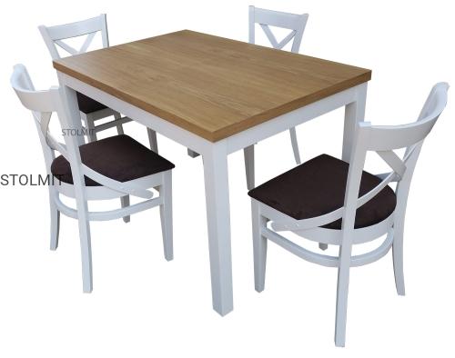 Stół W Stylu Prowansalskim Z 4 Białymi Krzesłami