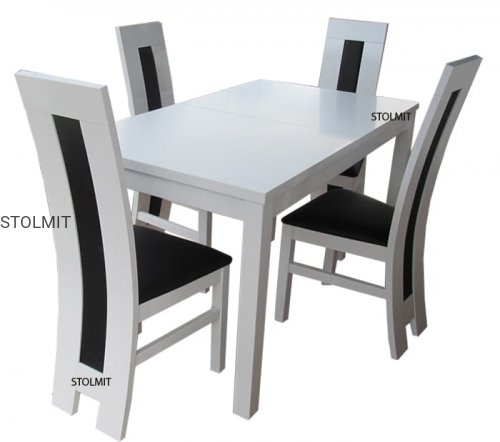 Stół Biały Rozkładany Prostokątny Lub Kwadratowy 4 Krzesła Stolmit